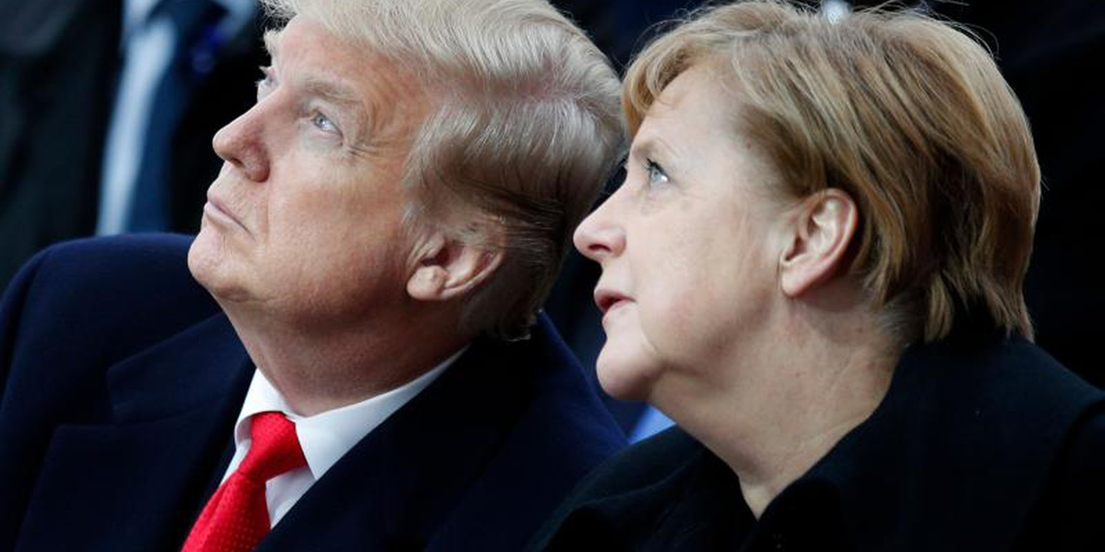 Donald Trump and Angela Merkel at the commemorations marking the 100th anniversary of the 11 November 1918 armistice, ending the First World War. Photo: Getty Images.
