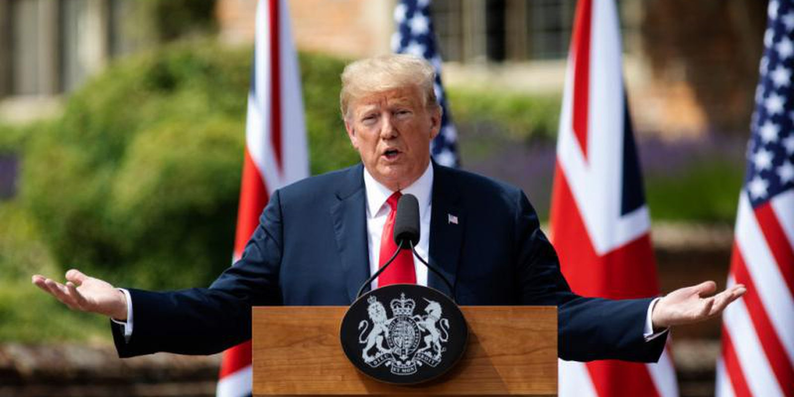 Donald Trump at a press conference at Chequers during his 2018 visit to Britain. Photo: Getty Images.