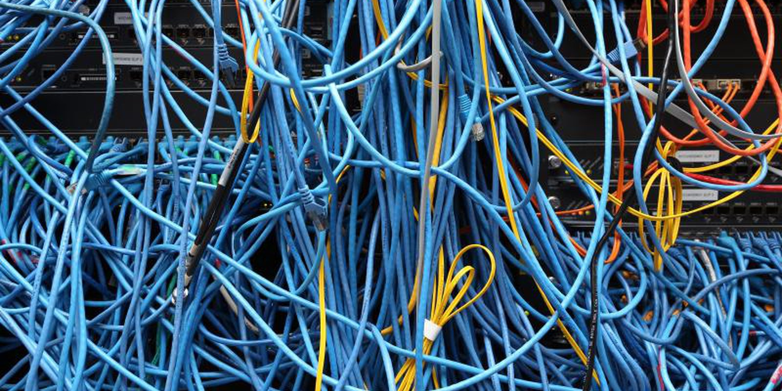 Server room network cables in New York City, November 2014. Photo: Michael Bocchieri/Staff/Getty.
