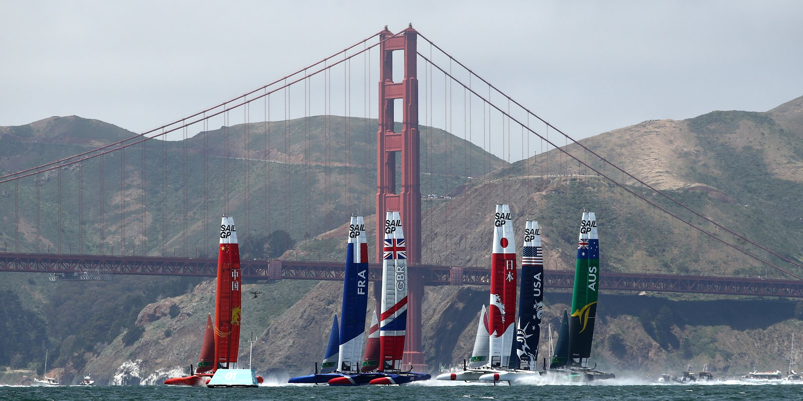 Teams from France, Great Britain, the US, China, Australia and Japan race against each other during the SailGP on 4 May 2019 in San Francisco, California.