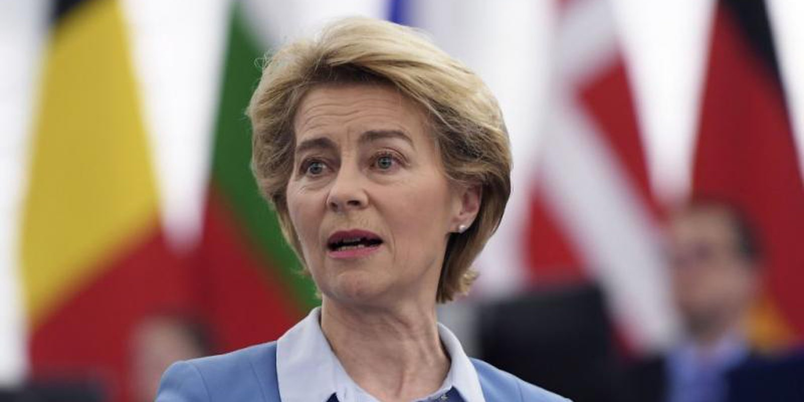 EU Commission President Ursula von der Leyen speaks at the European Parliament in Strasbourg in February. Photo: Getty Images.