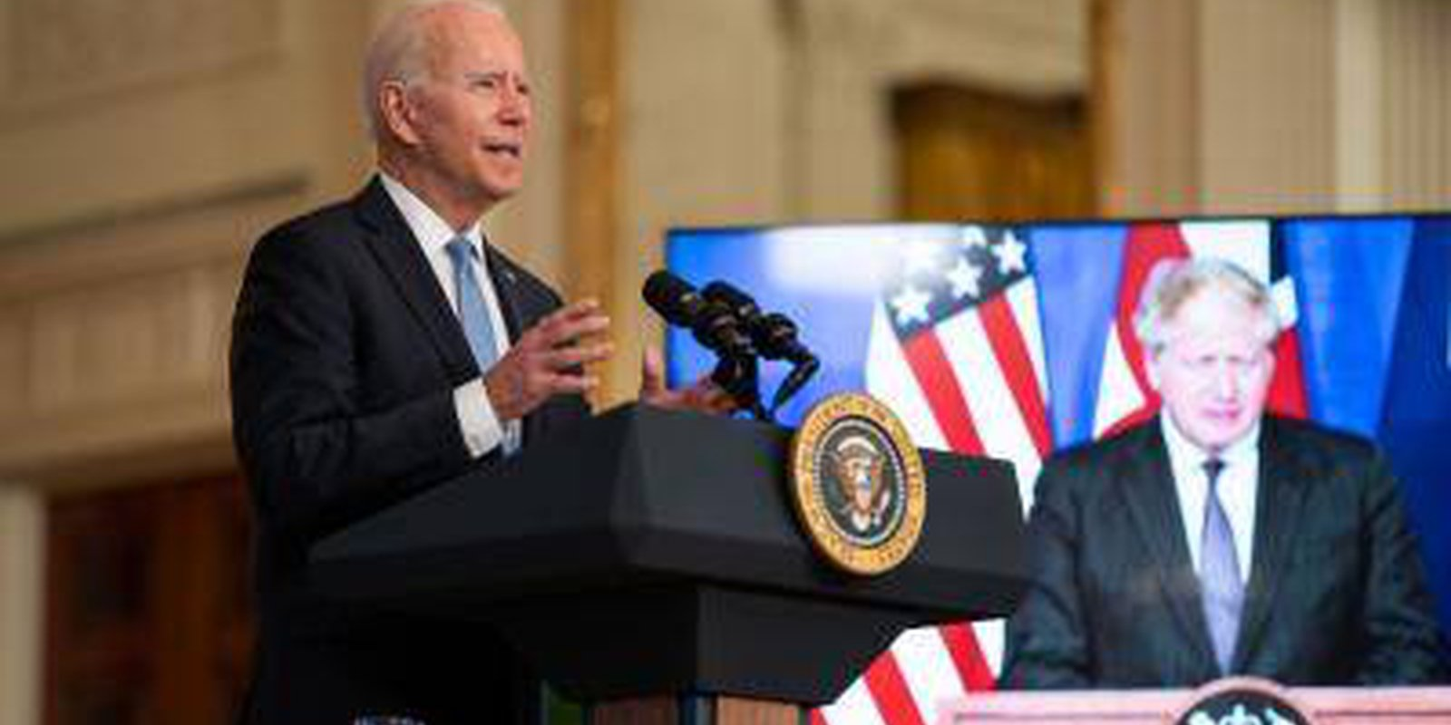 President Joe Biden announces the USwill share nuclear submarine technology with Australia, joined virtually by Prime Minister Scott Morrison of Australia and UK Prime Minister Boris Johnson. Photo by Kent Nishimura/Los Angeles Times via Getty Images