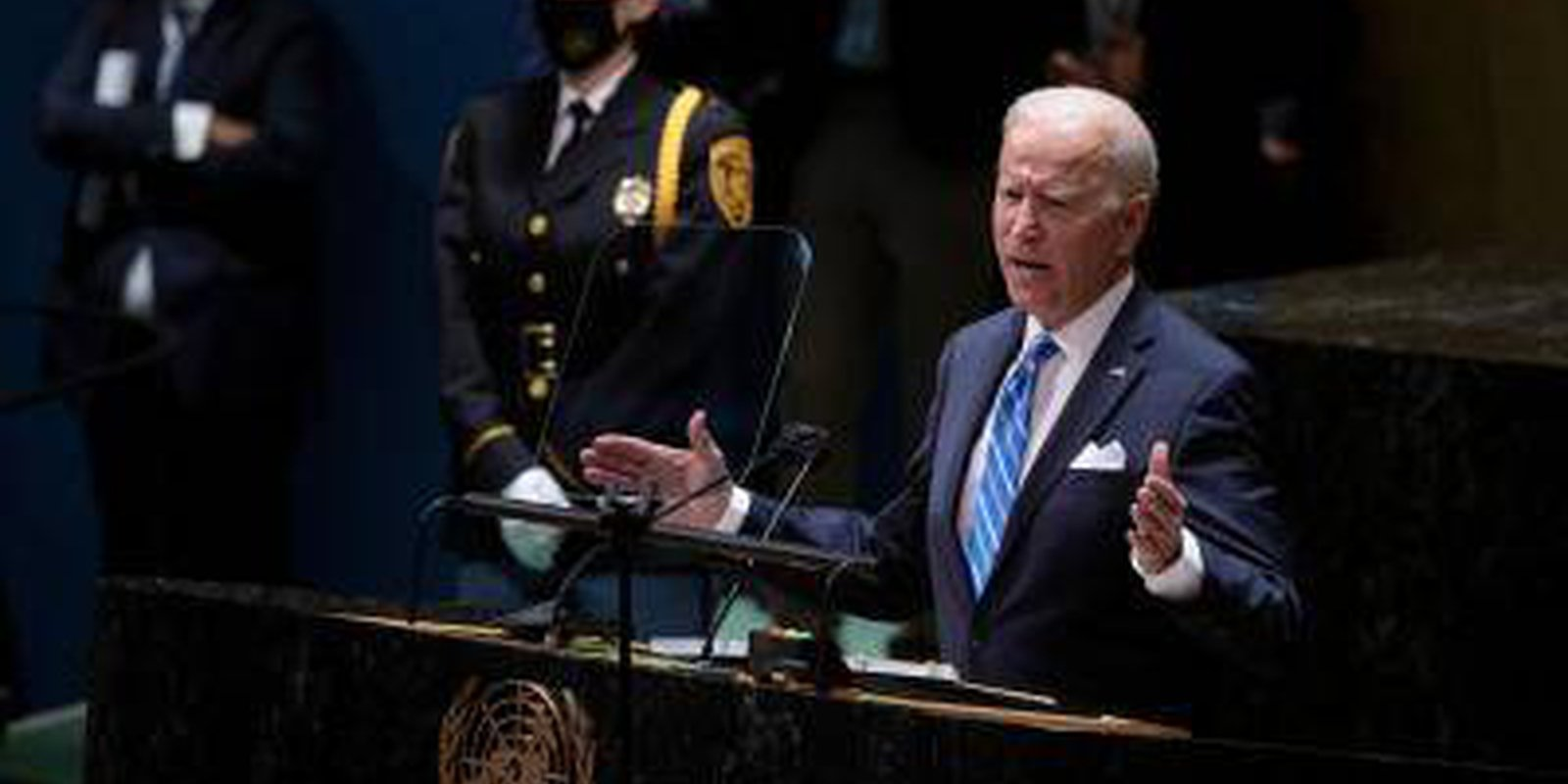 US president Joe Biden addresses the 76th Session of the UN General Assembly on September 21, 2021 in New York. Photo by BRENDAN SMIALOWSKI/AFP via Getty Images.