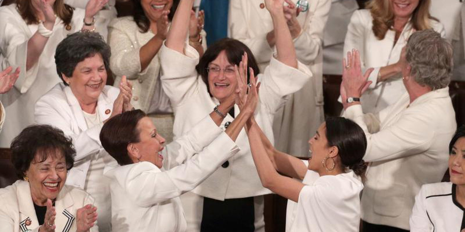 US Congresswomen wore white to President Donald Trump's State of the Union address in the House of Representatives in solidarity with the women's suffragette movement. Photo: Getty Images.