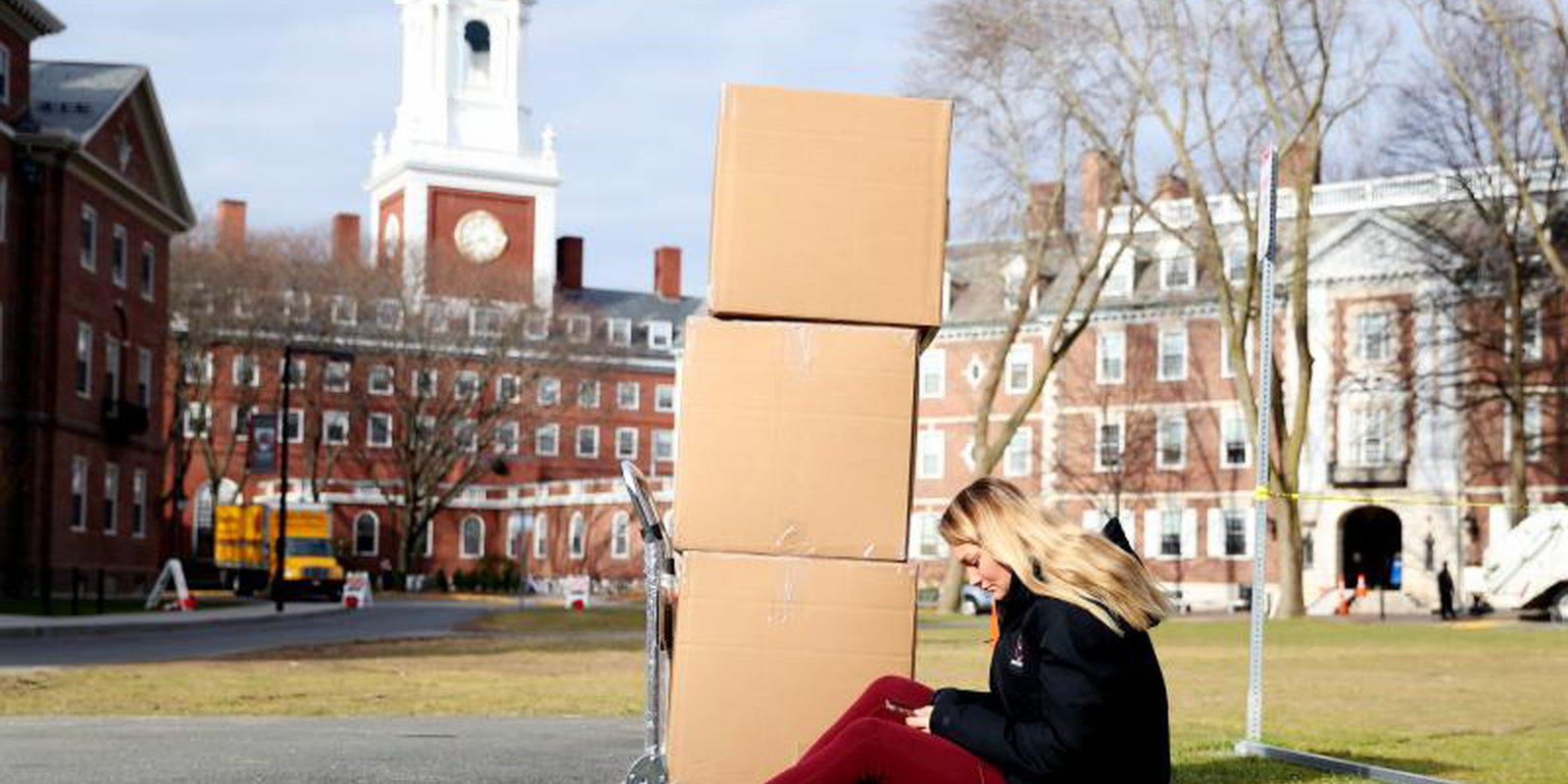 Harvard asked its students to move out of their dorms due to the coronavirus risk, with all classes moving online. Photo by Maddie Meyer/Getty Images.