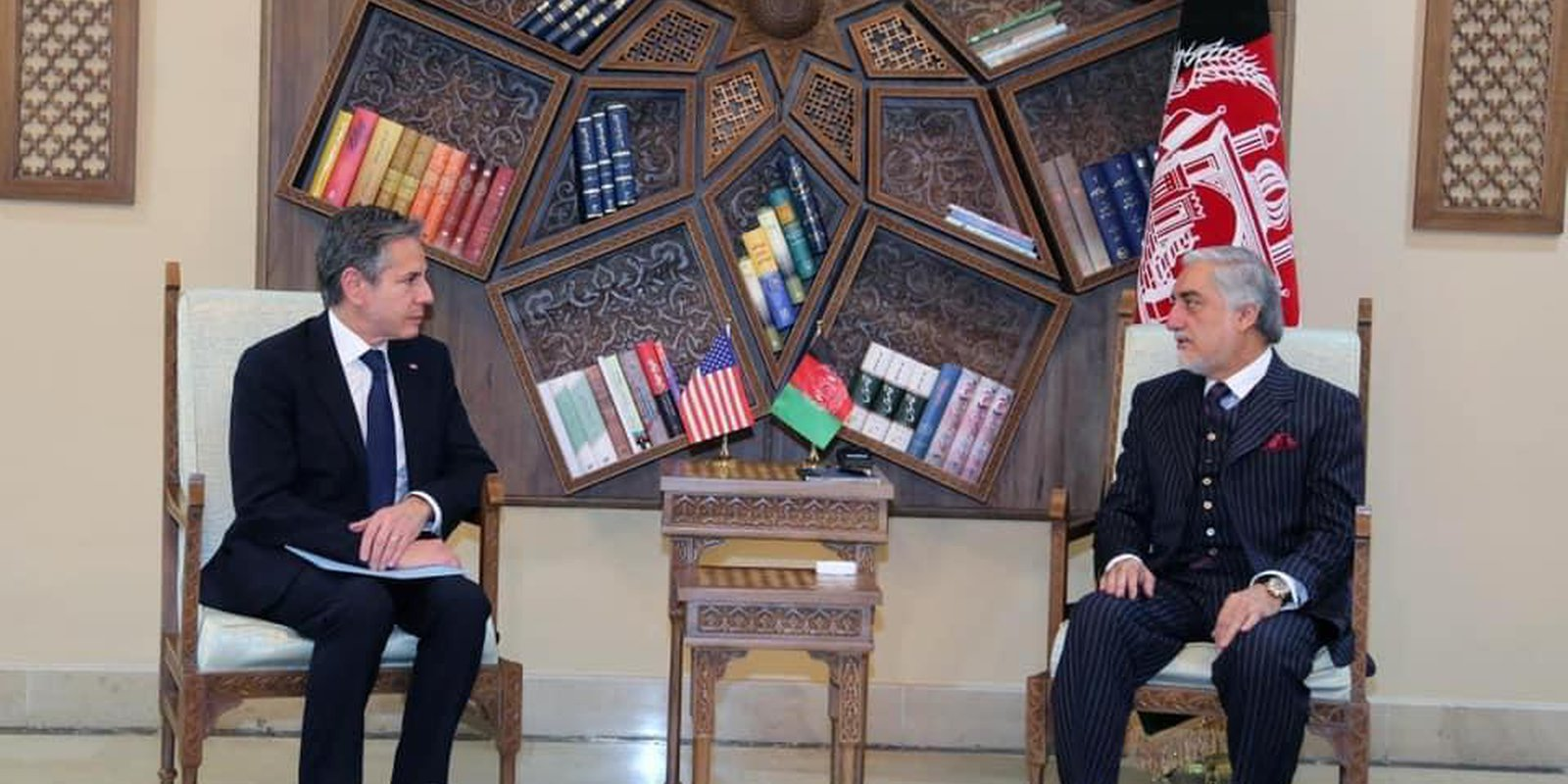 United States Secretary of State, Antony Blinken (L) meets Chairman of the High Council for National Reconciliation Abdullah Abdullah (R) on the withdrawal of U.S. troops from Afghanistan in Kabul, Afghanistan on April 15, 2021. (Photo by High Council For National Reconciliation / Handout/Anadolu Agency via Getty Images)
