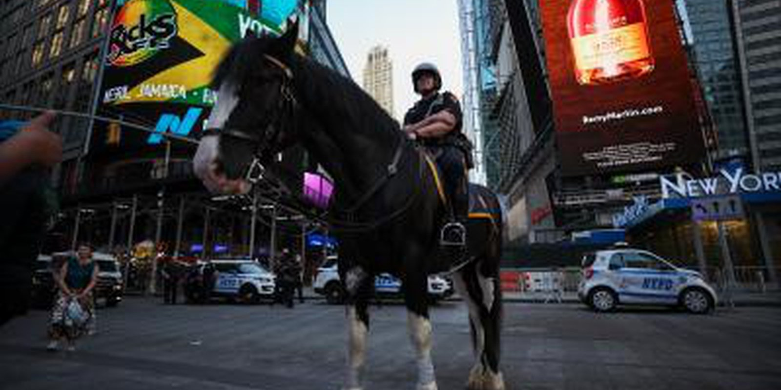 Image — Police horse inTimes Square, New York City on the day it was announced fully vaccinated peopleno longer have to wear masks in most circumstances. Photo by Tayfun Coskun/Anadolu Agency via Getty Images.