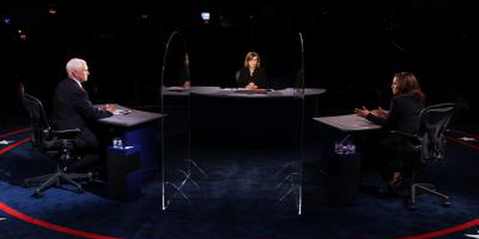 Senator Kamala Harris and Vice President Mike Pence participate in the vice presidential debate on 7 October 2020 in Salt Lake City, Utah. Photo: Getty Images.