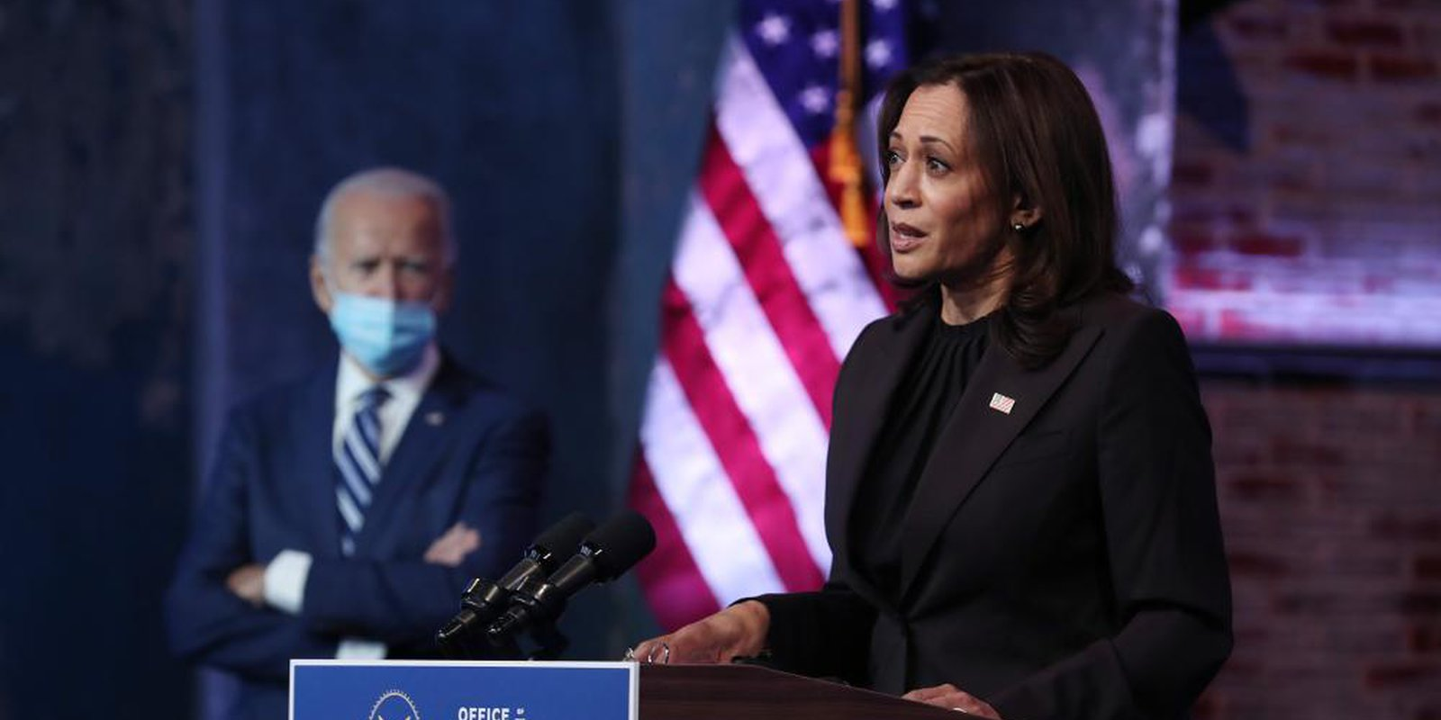 Image — Vice president-elect Kamala Harris addresses the media on November 10, 2020 at the Queen Theater in Wilmington, Delaware. Photo by Joe Raedle/Getty Images.