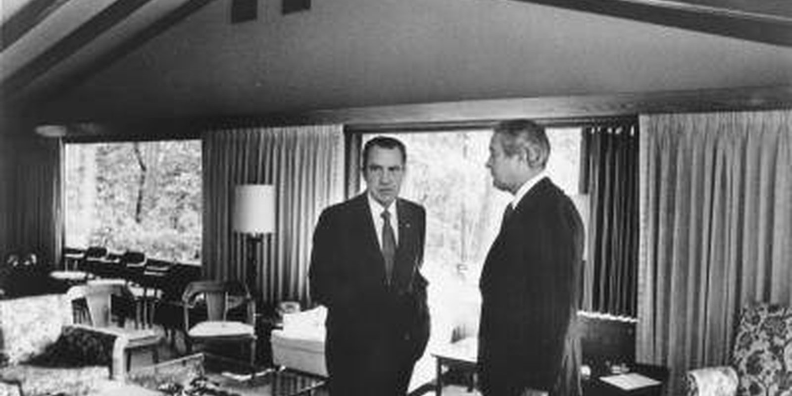 Image — President Richard Nixon and Treasury Secretary John Connally discuss new economic programmes for the United States atCamp David inMaryland, 1971. Photo by PhotoQuest/Getty Images.